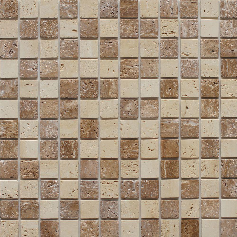 Instant mosaic 12 in x 12 in travertine stone backsplash tile in natural