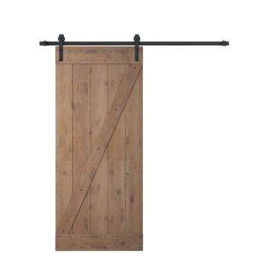 36 in. x 84 in. Z Bar 1 Panel Primed Natural Wood Finish Sliding Barn Door with Sliding Door Hardware Kit