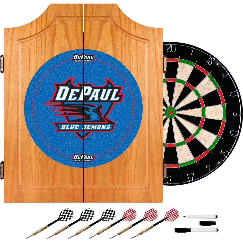 DePaul University Wood Finish Dart Cabinet Set