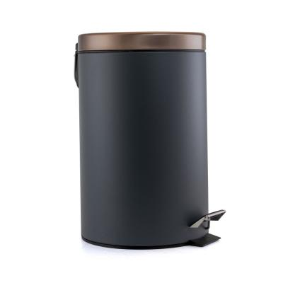 Waste Basket with Step-On Pedal in Gray and Copper