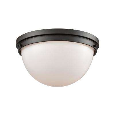 Beckett 2-Light Oil Rubbed Bronze With Opal White Glass Flushmount