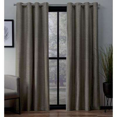 London 52 in. W x 63 in. L Woven Blackout Grommet Top Curtain Panel in Cafe (2 Panels)