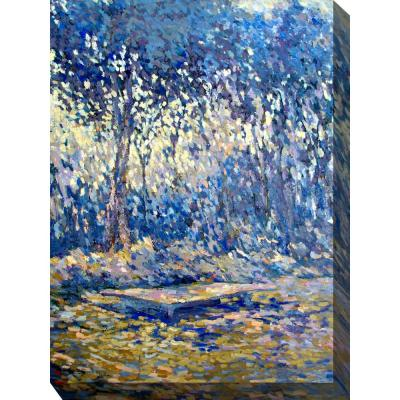 """30 in. x 40 in. """"River Blue"""" Outdoor Canvas Wall Art"""