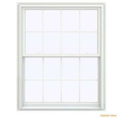43.5 in. x 59.5 in. V-2500 Series White Vinyl Double Hung Window with Colonial Grids/Grilles
