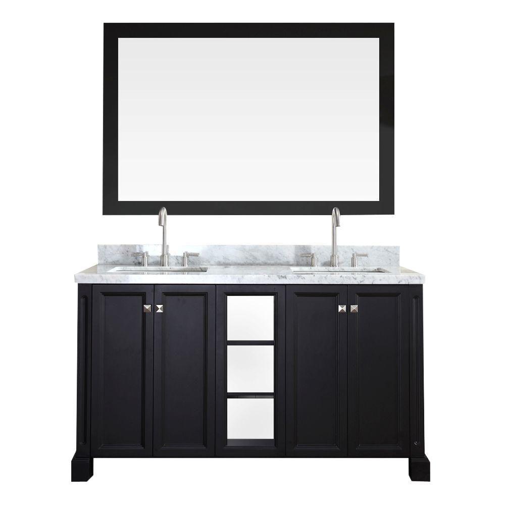 Westwood 61 in. Vanity in Black with Marble Vanity Top in Carrara White, Under-Mount Basins and Mirror