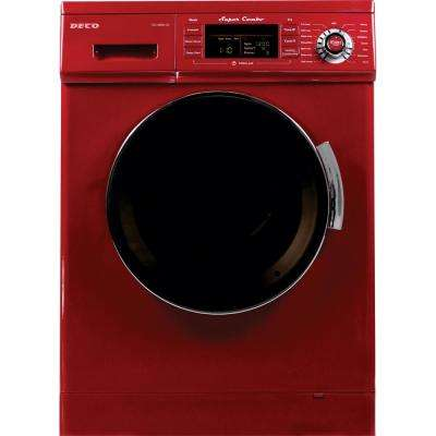 All-in-one 1200 RPM Compact Washer and Electric Ventless/Vented Dryer with Sensor Dry Feature in Merlot