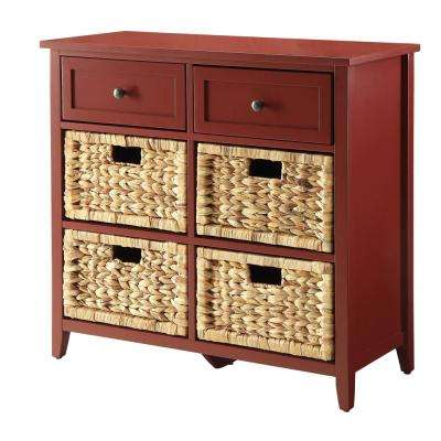 Flavius Burgundy 6 Drawers Accent Chest