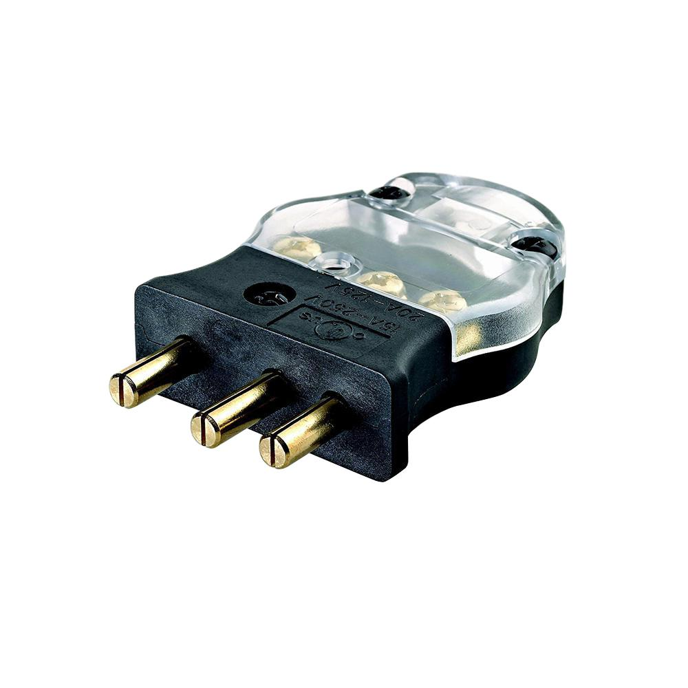 Leviton 20 Amp 125-Volt 2 Pole-3 Wire Stage Pin Male Plug Pressure Plate  Terminals, Black with Clear Cover-20MP-CL - The Home DepotThe Home Depot