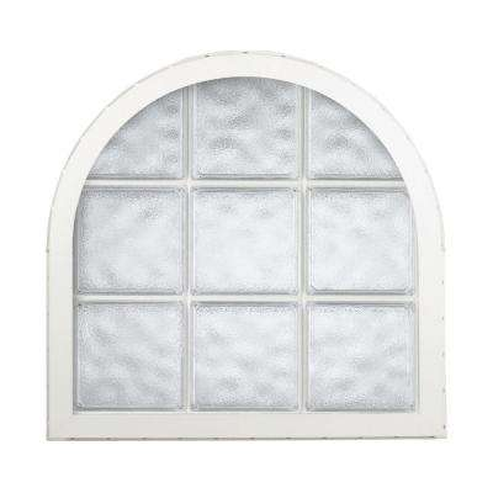 42 in. x 50 in. Acrylic Block Round Top Vinyl Window - White