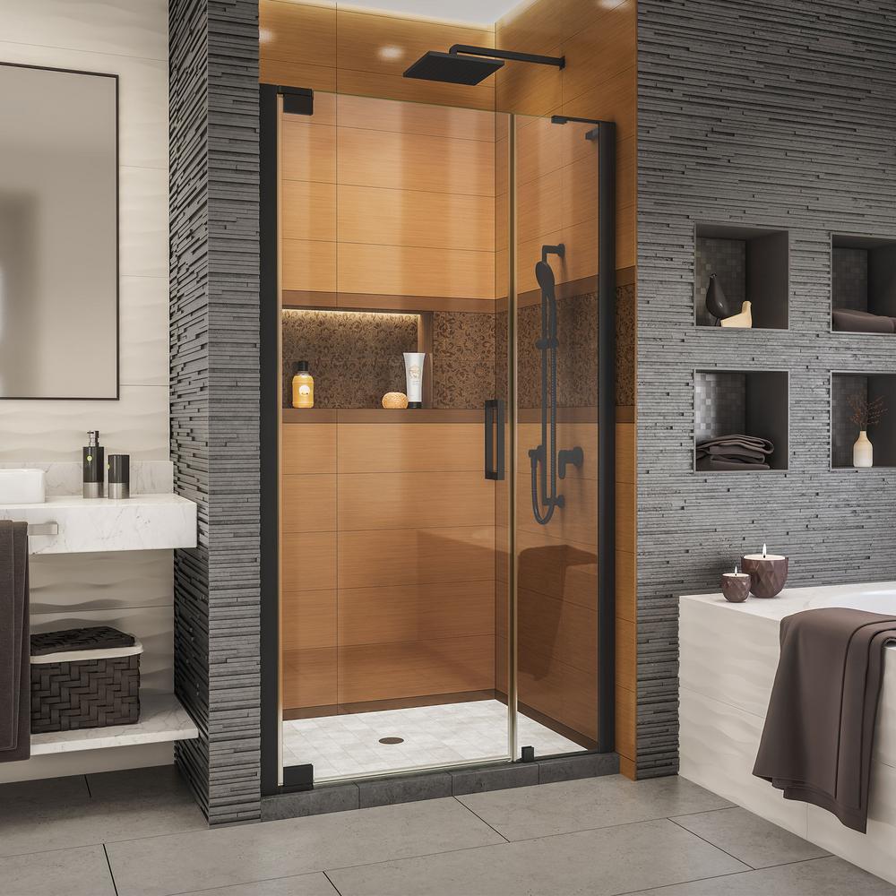 Elegance-LS 45-3/4 in. to 47-3/4 in. W x 72 in. H Frameless Pivot Shower Door in Satin Black