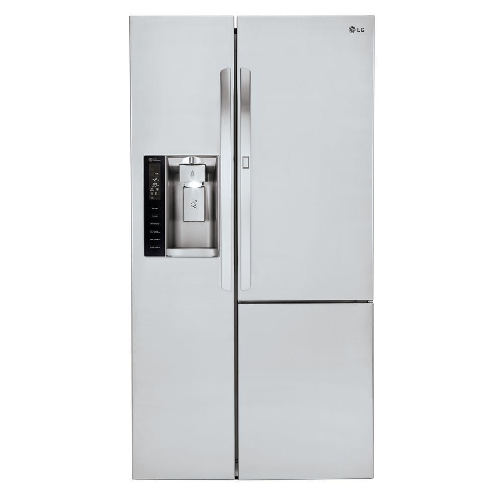 Lg Electronics 26 1 Cu Ft Side By Refrigerator With Door In Stainless Steel Lsxs26386s The Home Depot