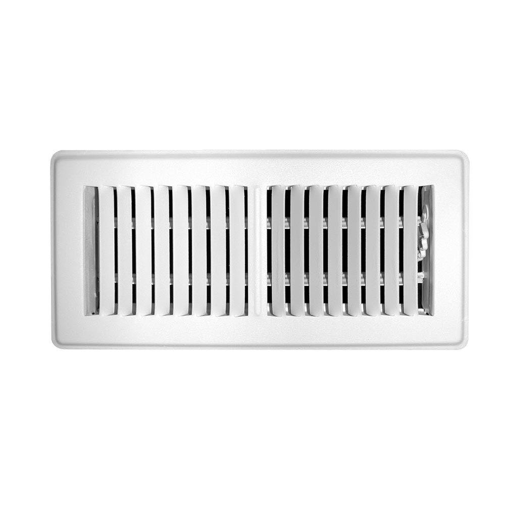 TruAire 4 in. x 8 in. Steel 2 Way Mobile Home Floor Diffuser, White
