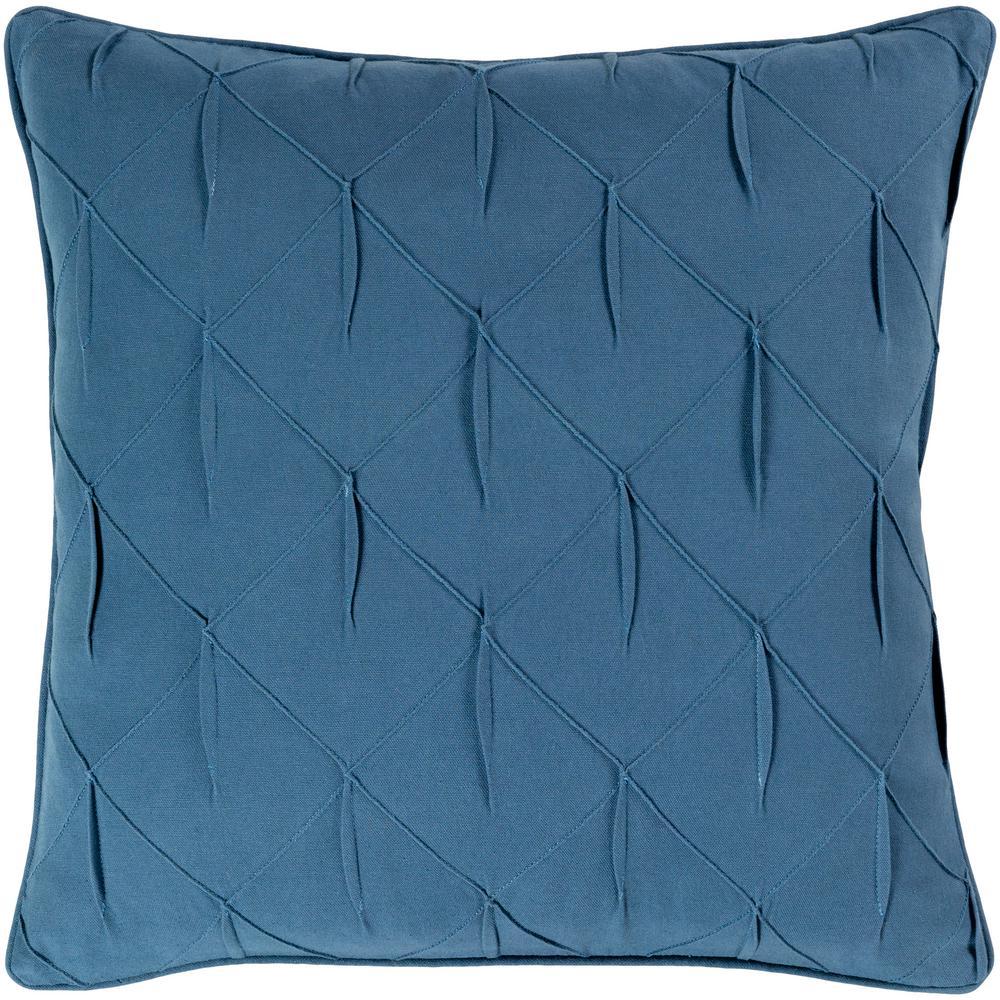 Hansel Dark Blue Solid Textured Down 22 in. x 22 in. Throw Pillow