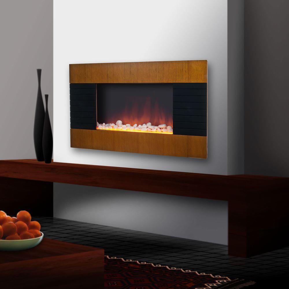 null Merlin 35 in. Wall-Mount Electric Fireplace in Brown-DISCONTINUED