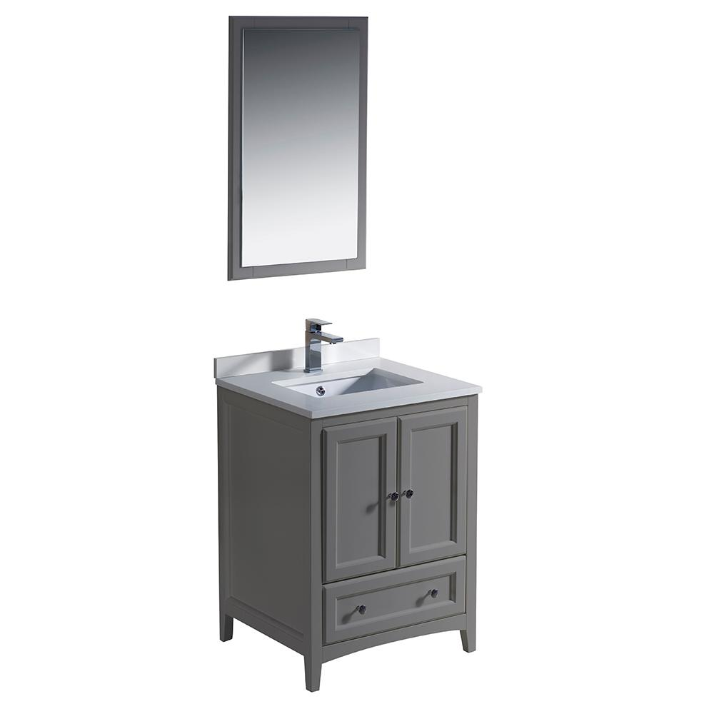Fresca Warwick 24 in. Bathroom Vanity in Gray with Quartz Stone Vanity Top in White with White Basin and Mirror