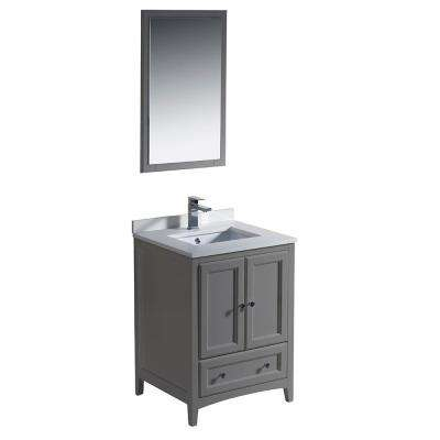 Warwick 24 in. Bathroom Vanity in Gray with Quartz Stone Vanity Top in White with White Basin and Mirror