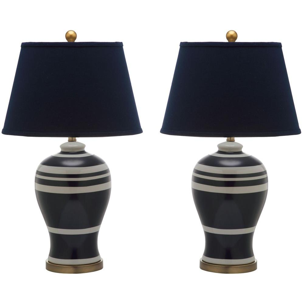 Safavieh 29 in navy pottery stripe ginger jar lamp set of 2 navy pottery stripe ginger jar lamp set of 2 geotapseo Image collections