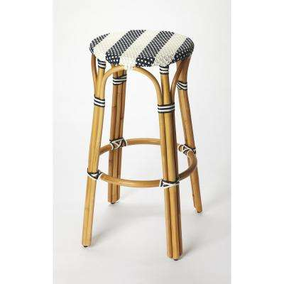 Tobias 30 in. Blue and White Rattan Bar Stool