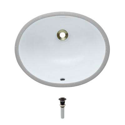 Undermount Porcelain Bathroom Sink in White with Pop-Up Drain in Antique Bronze