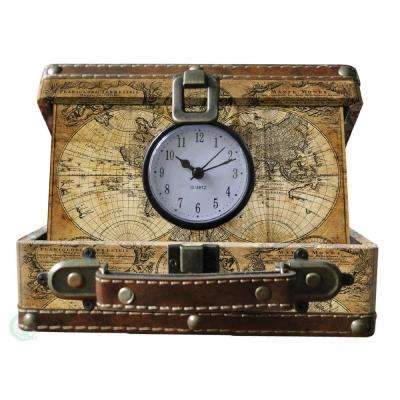 8 in. x 6.5 in. x 3.2 in. Wood and Faux Leather Old World Map Small Suitcase Clock
