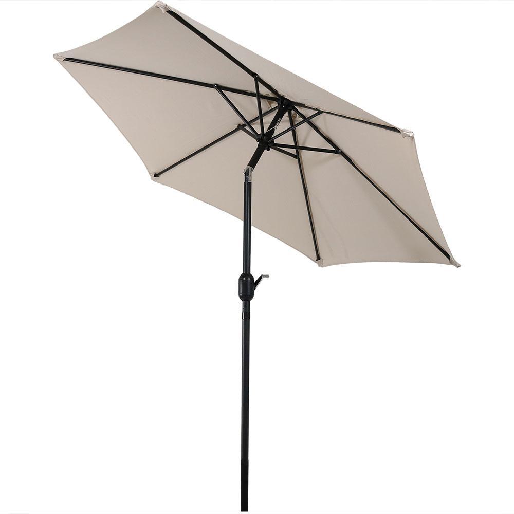 7.5 ft. Aluminum Market Tilt Patio Umbrella in Beige