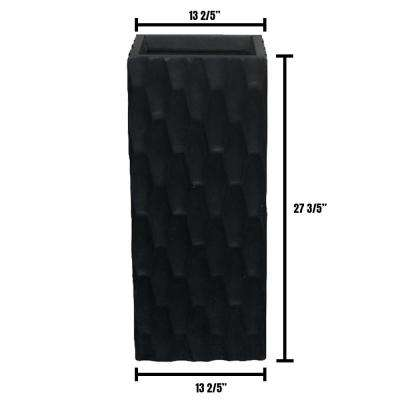 Large 13 in. x 13 in. x 28 in. Lightweight Concrete Modern Rough Surface Rectangle Black Planter
