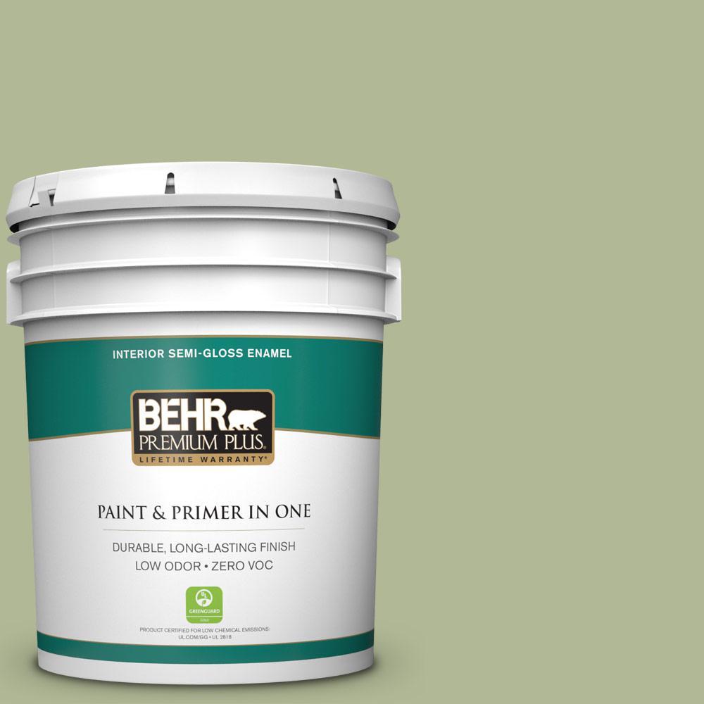 5 gal. #PPU11-08 Moss Print Zero VOC Semi-Gloss Enamel Interior Paint