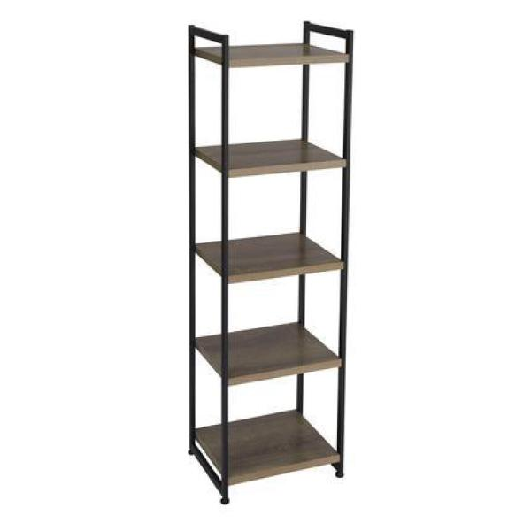 Household Essentials 59 1 In Gray Black Metal 5 Shelf Etagere Bookcase With Open Back 8075 1 The Home Depot