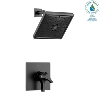 Zura 1-Handle Shower Faucet Trim Kit with H2Okinetic Spray in Matte Black (Valve Not Included)