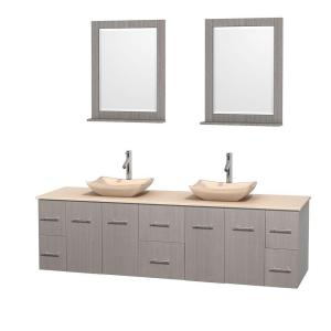 Wyndham Collection Centra 80 inch Double Vanity in Gray Oak with Marble Vanity Top in Ivory, Marble Sinks and 24 inch... by Wyndham Collection
