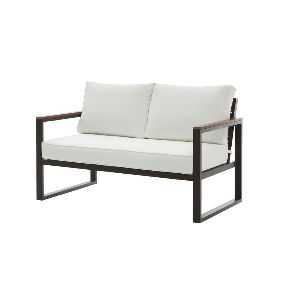 Swell West Park Black Aluminum Outdoor Patio Loveseat With Standard White Cushions Alphanode Cool Chair Designs And Ideas Alphanodeonline