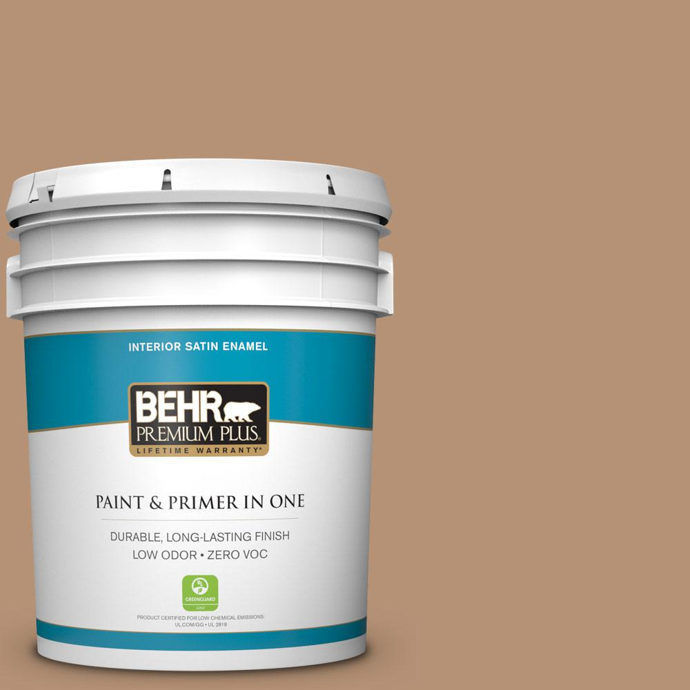 BEHR Premium Plus 5-gal. #T13-7 Tan-gent Zero VOC Satin Enamel Interior Paint