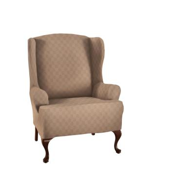 Wheat Newport Wing Chair Stretch Slipcover