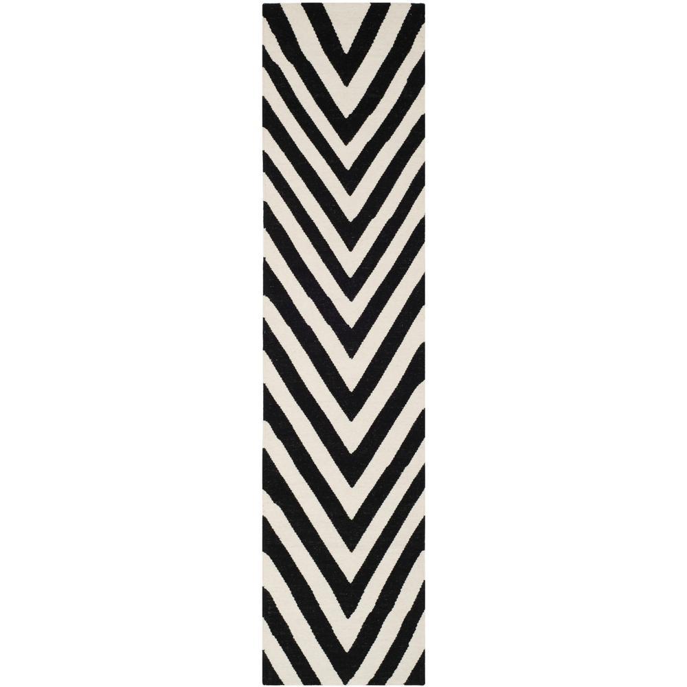 Dhurries Black/Ivory 3 ft. x 6 ft. Runner Rug