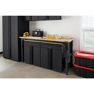 Heavy Duty 6 ft. Adjustable Height Workbench with LINE-X Coating in Black