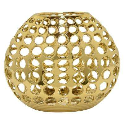 Pierced Gold Ceramic Decorative Vase