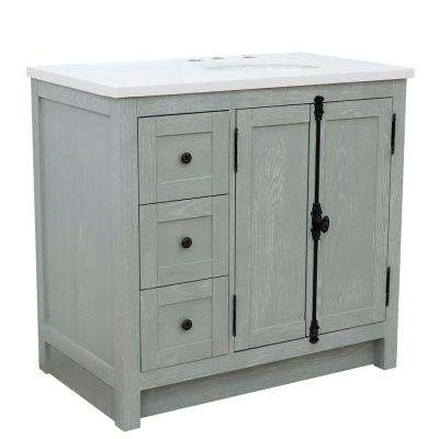 Plantation 37 in. W x 22 in. D x 36 in. H Bath Vanity in Gray Ash with White Quartz top and Right Side Oval Sink