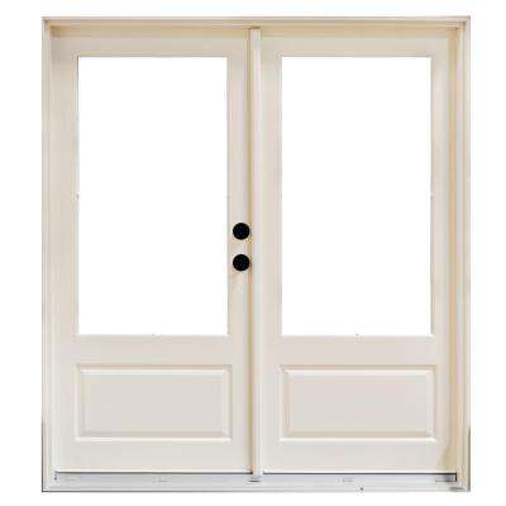 72 in. x 80 in. Fiberglass Smooth White Left-Hand Inswing Hinged 3/4 Lite Patio Door