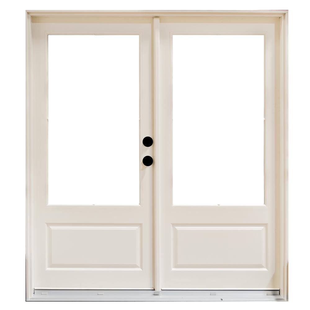 Mp doors 72 in x 80 in fiberglass smooth white left hand for Fiberglass patio doors