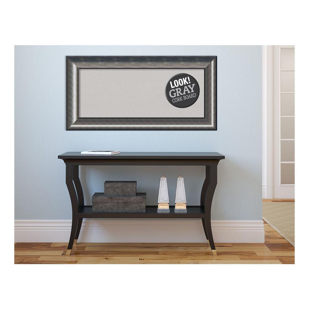 Quicksilver Scoop Wood 36 in. x 18 in. Framed Grey Cork Board