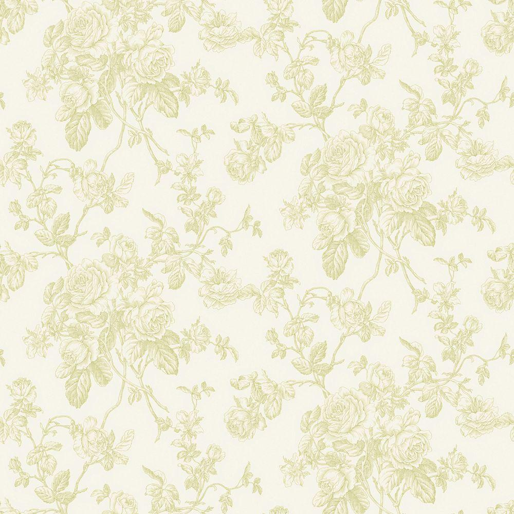 The Wallpaper Company 56 sq. ft. Green Pastel Lacey Rose Toile Wallpaper
