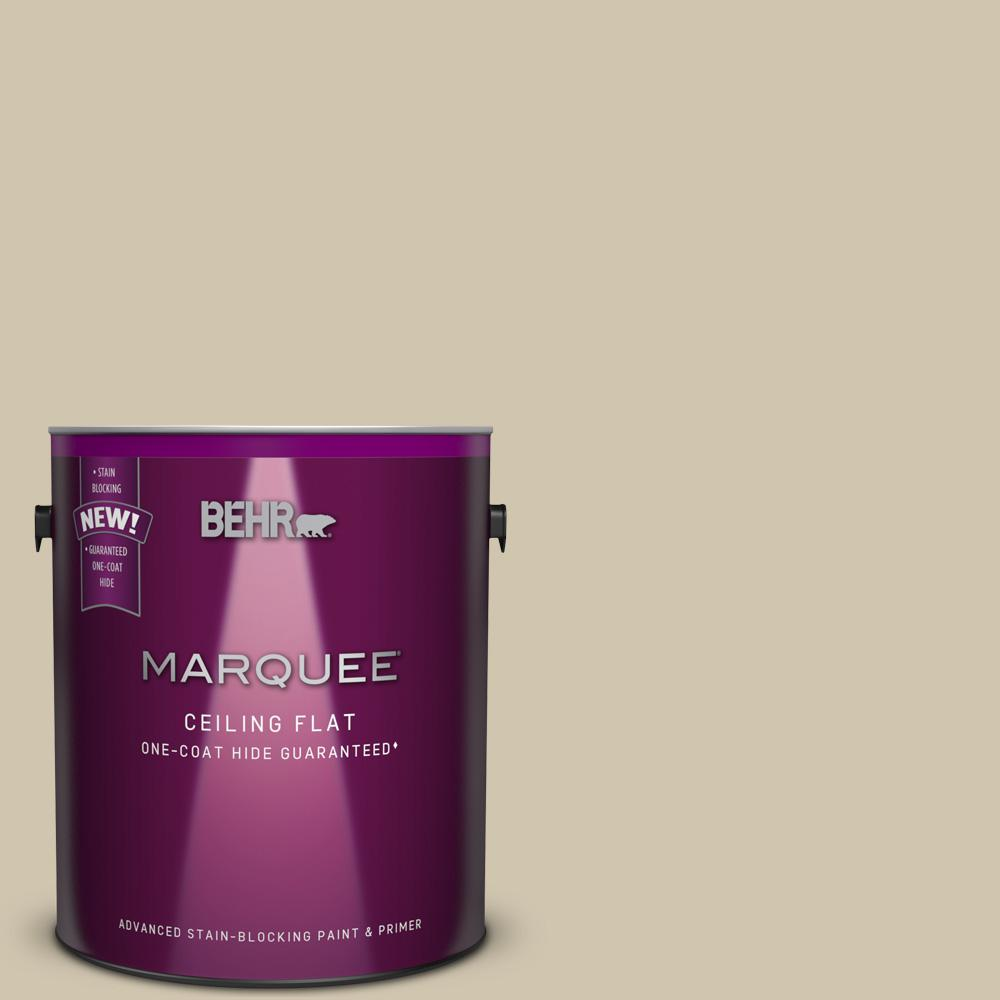 BEHR MARQUEE 1 gal. #HDC-NT-18 Tinted to Yuma Sand One-Coat Hide Flat Interior Ceiling Paint and Primer in One