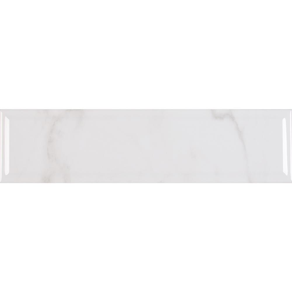Classique 4 in. x 16 in. White Carrara Glossy Beveled Glazed