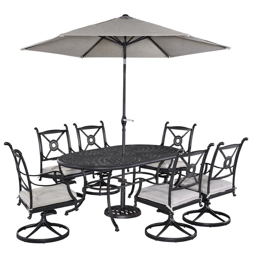 Home Styles Athens 7 Piece Patio Dining Set With Umbrella 5569 3356   The  Home Depot