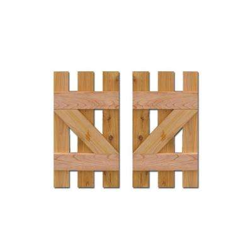 12 in. x 25 in. Baton Spaced Z Board and Batten Shutters (Natural Cedar) Pair