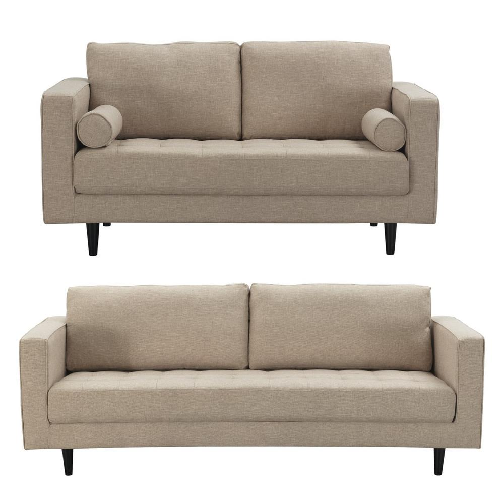 Manhattan Comfort Arthur 2 Piece Tan Brown Tweed 3 Seat Sofa And