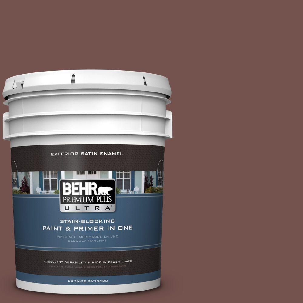 BEHR Premium Plus Ultra 5-gal. #HDC-CL-12 Terrace Brown Satin Enamel Exterior Paint