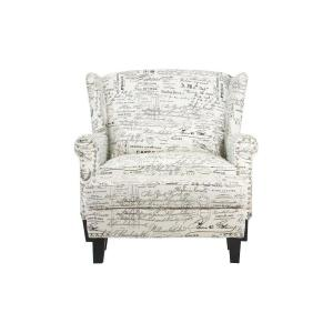 Zoey Script White Polyester Arm Chair with Ottoman