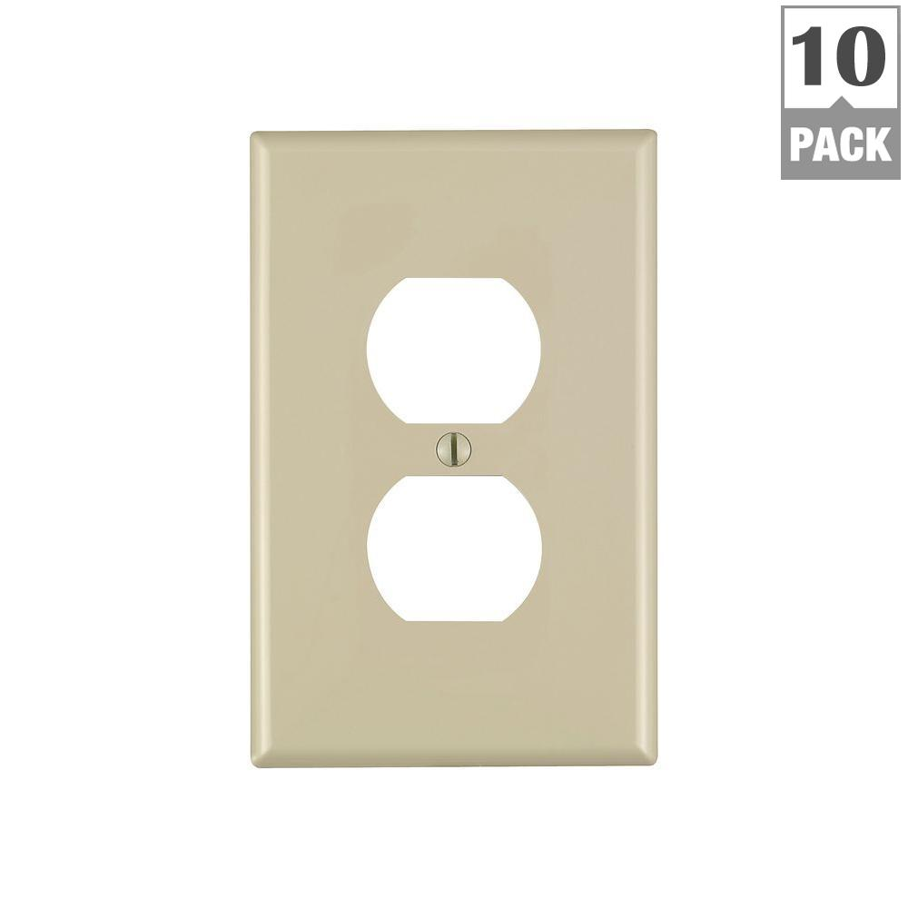 1-Gang Midway Duplex Outlet Nylon Wall Plate, Ivory (10-Pack)