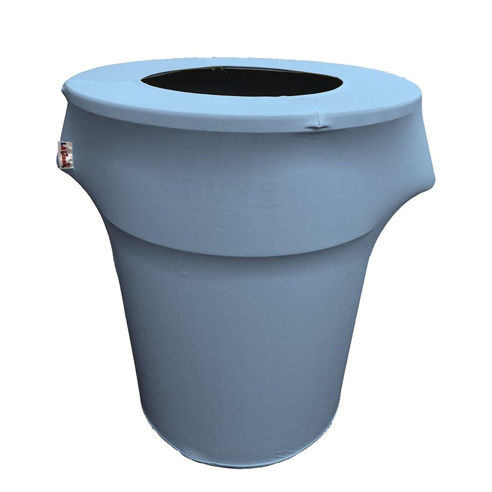 Stretch Spandex Trash Can Cover 44 Gal. Round in Light Blue